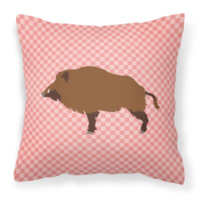 Wild Boar Pig Check Outdoor Throw Pillow Color: Pink