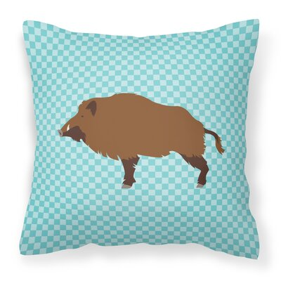 Wild Boar Pig Check Outdoor Throw Pillow Color: Blue