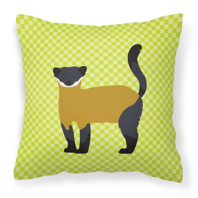 Throated Marten Check Outdoor Throw Pillow Color: Green