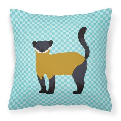 Throated Marten Check Outdoor Throw Pillow Color: Blue