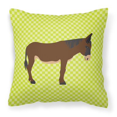 Zamorano-Leones Donkey Check Outdoor Throw Pillow Color: Green