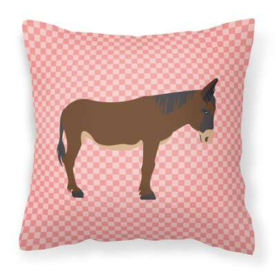 Zamorano-Leones Donkey Check Outdoor Throw Pillow Color: Pink