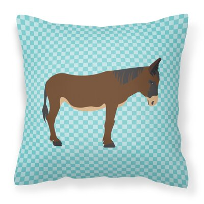 Zamorano-Leones Donkey Check Outdoor Throw Pillow Color: Blue