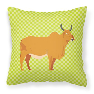 Zebu Indicine Cow Check Outdoor Throw Pillow Color: Green