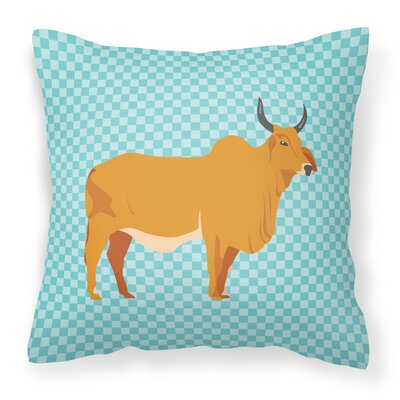 Zebu Indicine Cow Check Outdoor Throw Pillow Color: Blue