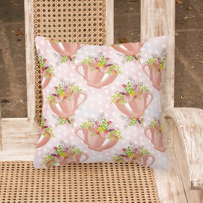 Coralle Tea Cup and Flowers Outdoor Throw Pillow