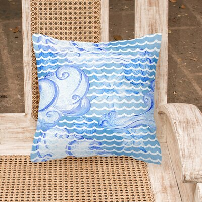 Miramar Beach Abstract Waves Outdoor Throw Pillow