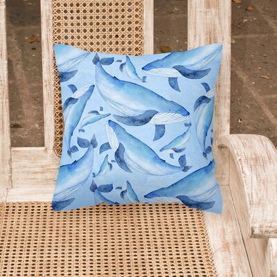 Golden Beach Nautical Whales Outdoor Throw Pillow