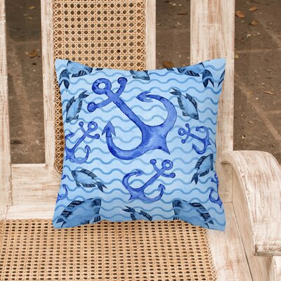 Miramar Beach Anchors and Fish Outdoor Throw Pillow