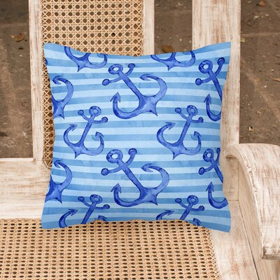 Miramar Beach Anchors Outdoor Throw Pillow