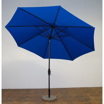 11 Market Umbrella Fabric: Pacific Blue, Frame Finish: Licorice