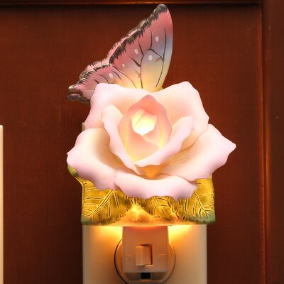 Butterfly with Peace Rose Night Light