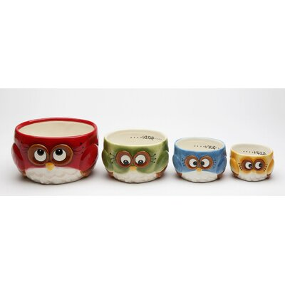 Owl 4 Piece Earthenware Measuring Cup Set 10911