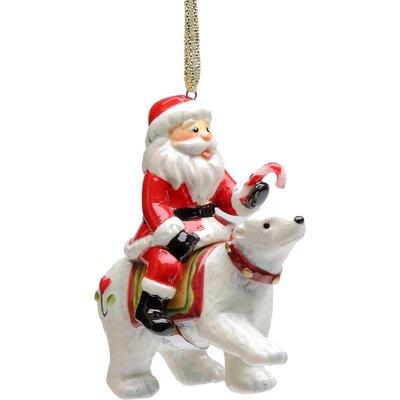 Santa Riding Polar Bear Ornament 10645