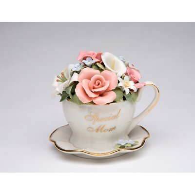 Special Mom Flower Cup and Saucer Music Box 80025