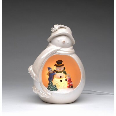 Snowman with Kids Playing Night Light