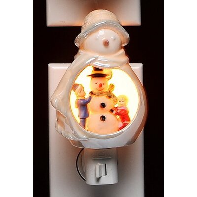 Snowman with Kids Plug in Night Light