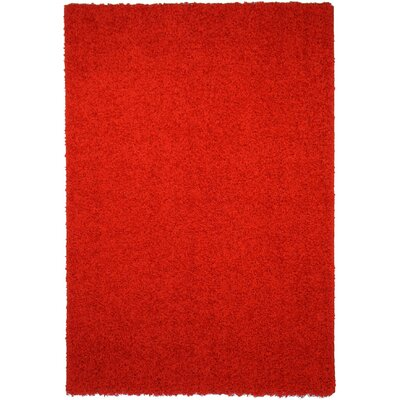 Burns Single Solid Red Shag Area Rug Rug Size: 67 x 93