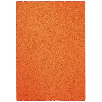 Burns Single Solid Orange Shag Area Rug Rug Size: 5 x 7