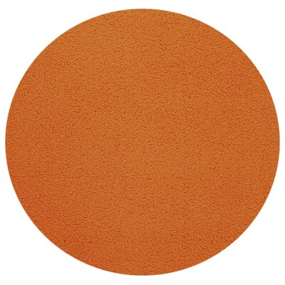 Bella Maxy Home Single Solid Orange Shag Area Rug Rug Size: Round 5