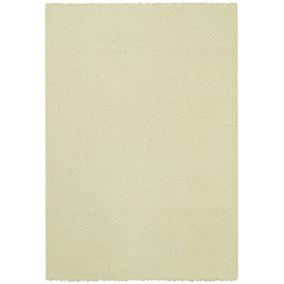 Bella Maxy Home Single Solid Ivory Shag Area Rug Rug Size: 5 x 7