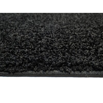 Burns Single Solid Black Shag Area Rug Rug Size: 5 x 7