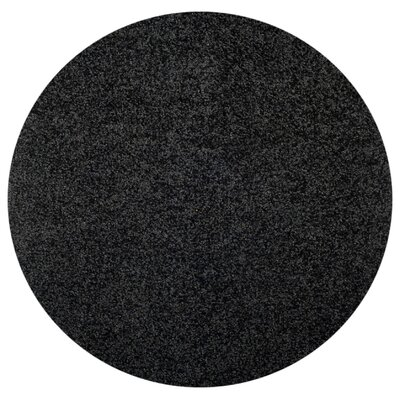Burns Single Solid Black Shag Area Rug Rug Size: Round 5