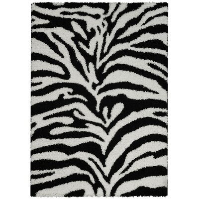 Burns Zebra Print Black/Snow White Shag Area Rug Rug Size: 67 x 93