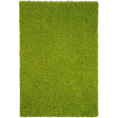 Bella Maxy Home Single Solid Green Shag Area Rug Rug Size: 5 x 7