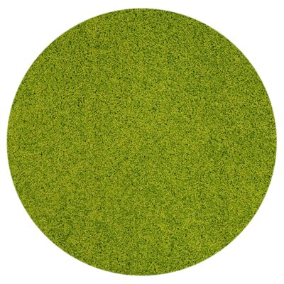 Burns Single Solid Green Shag Area Rug Rug Size: Round 5