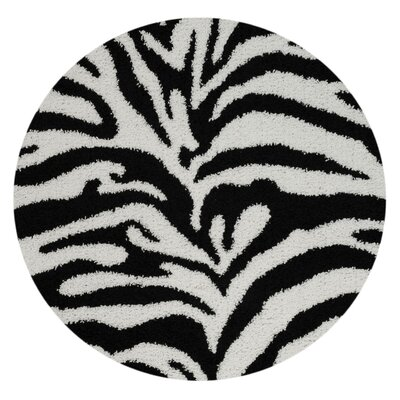 Burns Zebra Print Black/Snow White Shag Area Rug Rug Size: Round 5