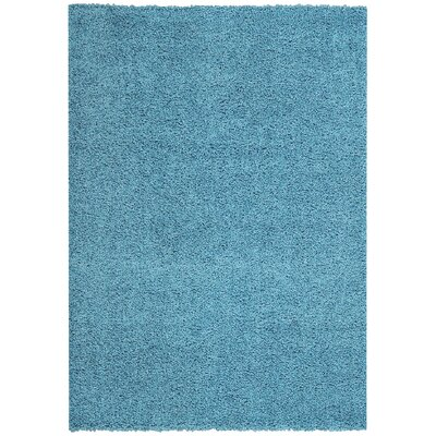 Burns Single Solid French Blue Shag Area Rug Rug Size: 33 x 48