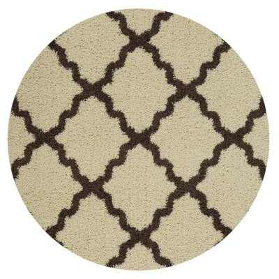 Komar Moroccan Trellis Contemporary Ivory/Brown Shag Area Rug Rug Size: Rectangle 5 x 7