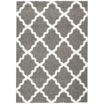 Garen Moroccan Trellis Shag Doormat Color: Grey/White