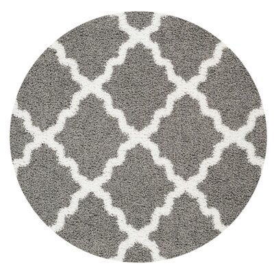 Komar Moroccan Trellis Contemporary Gray/White Shag Area Rug Rug Size: Rectangle 5 x 7