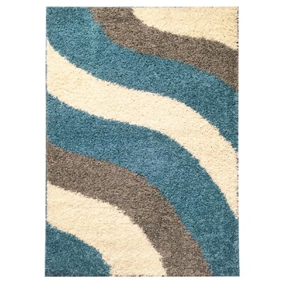 Burns Block Striped Waves Contemporary White/Turquoise Blue Shag Area Rug Rug Size: 5 x 7