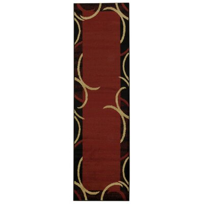 Pasha Maxy Home Contemporary Arches French Border Red/Black Area Rug Rug Size: Runner 111 x 611