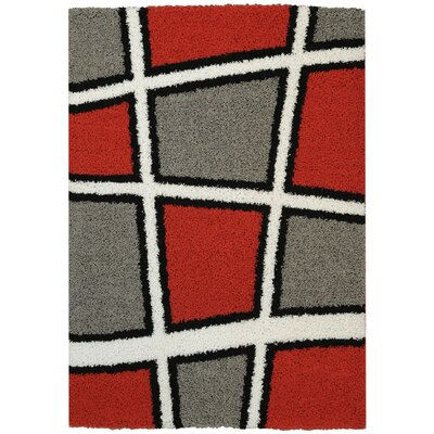 Volkonskaya Geometric Tile Design Contemporary White/Grey Shag Area Rug Rug Size: 33 x 48