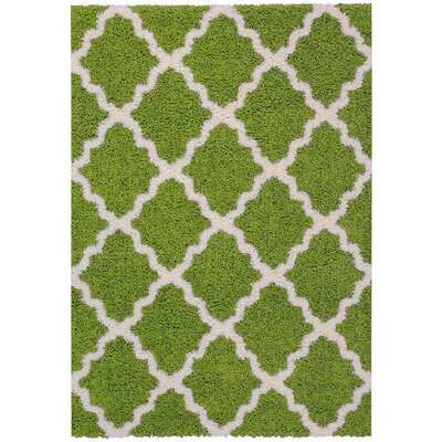 Burns Moroccan Trellis Contemporary Green/Ivory Shag Area Rug Rug Size: 5 x 7