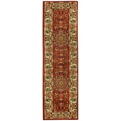 Pasha Maxy Home Medallion Traditional Red/Ivory Area Rug Rug Size: Runner 111 x 611