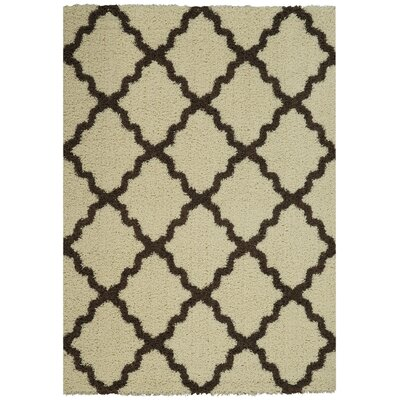Garen Moroccan Trellis Contemporary Ivory/Brown Shag Area Rug Rug Size: Rectangle 67 x 93