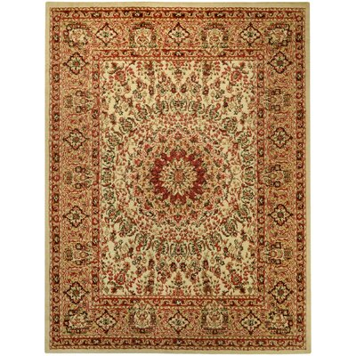 Wotring Medallion Traditional Ivory/Red Area Rug Rug Size: 53 x 611