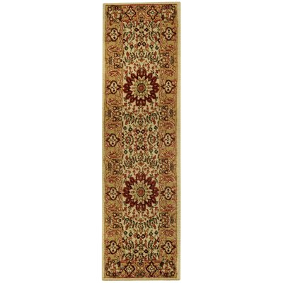 Wotring Medallion Traditional Ivory/Red Area Rug Rug Size: Runner 111 x 611