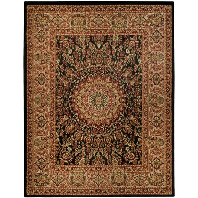 Pasha Maxy Home Medallion Traditional Black/Ivory Area Rug Rug Size: 33 x 5