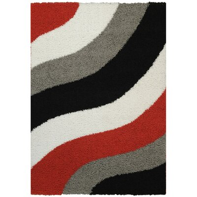 Bella Maxy Home Block Striped Waves Contemporary Shag Area Rug Rug Size: 67 x 93