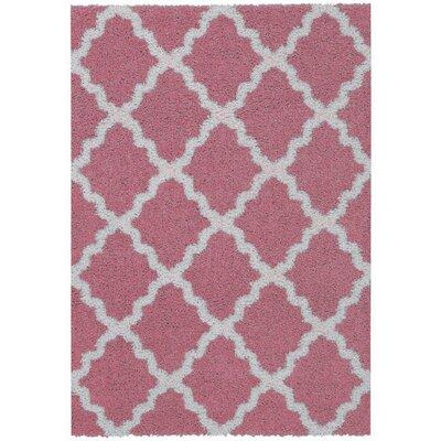 Garen Moroccan Trellis Shag Doormat Color: Pink/Ivory