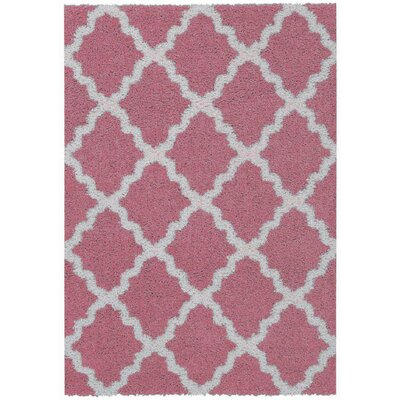 Komar Moroccan Trellis Shag Doormat Color: Pink/Ivory