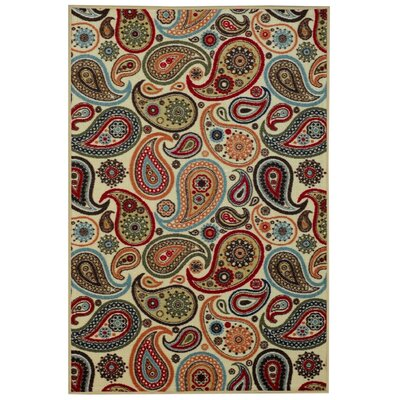 Beauchamp Square Beige Paisley Doormat Rug Size: 16 x 27