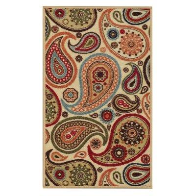 Beauchamp Square Beige Paisley Doormat Mat Size: Runner 18 x 411