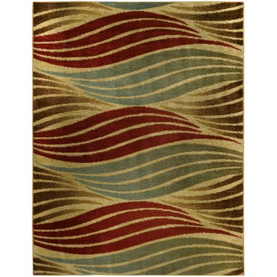 Pasha Maxy Home Striped Wave Contemporary Ivory Area Rug Rug Size: 53 x 611